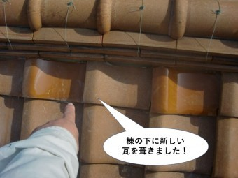 和泉市の棟の下に新しい瓦を葺きました