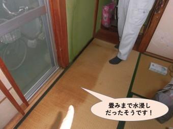 岸和田市の住宅の畳みまで水浸しだったそうです!