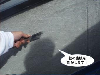 熊取町の壁の塗膜を剥がします