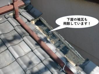 泉佐野市の下屋の袖瓦も飛散しています