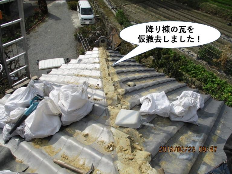 岸和田市の降り棟の瓦を仮撤去