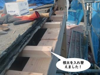 岸和田市のベランダの根太を入れ替えました
