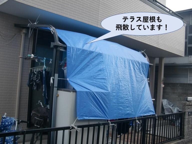 岸和田市のテラス屋根も飛散