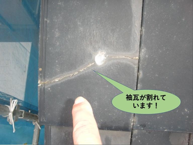 阪南市の袖瓦が割れています