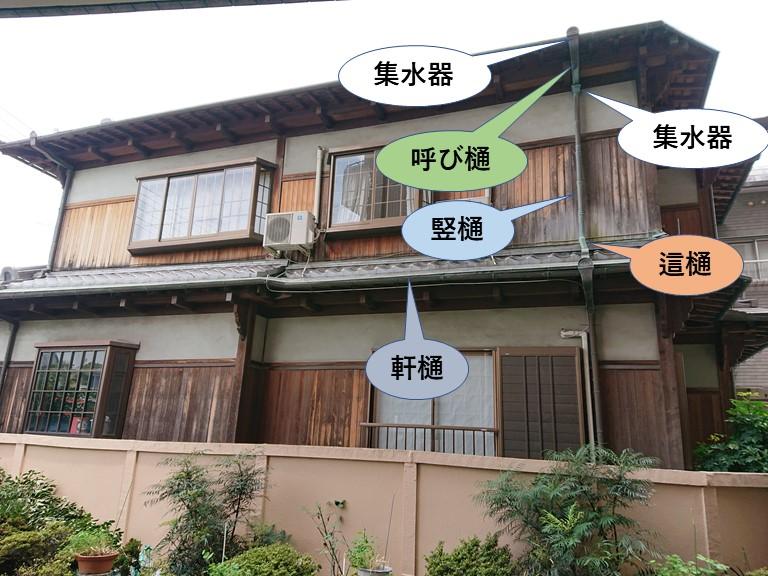 泉佐野市の雨樋の形状