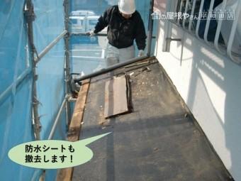 岸和田市の下屋の防水シートも撤去します!