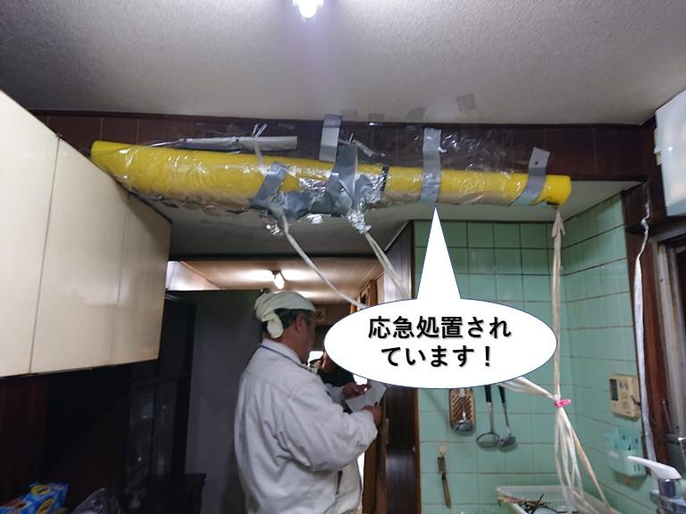貝塚市の天井を応急処置されています