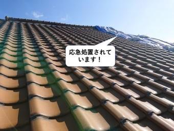 泉大津市の屋根が応急処置されています