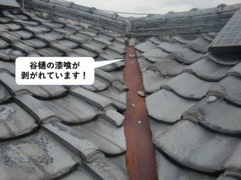 岸和田市の谷樋の漆喰が剥がれています