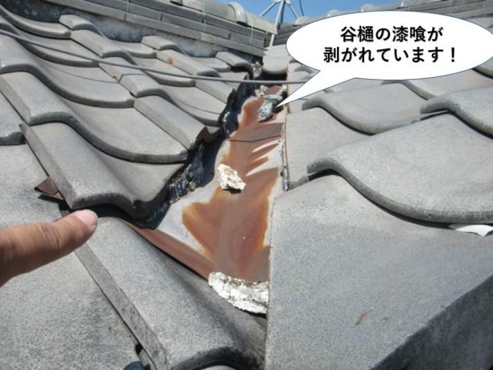 泉大津市の谷樋の漆喰が剥がれています