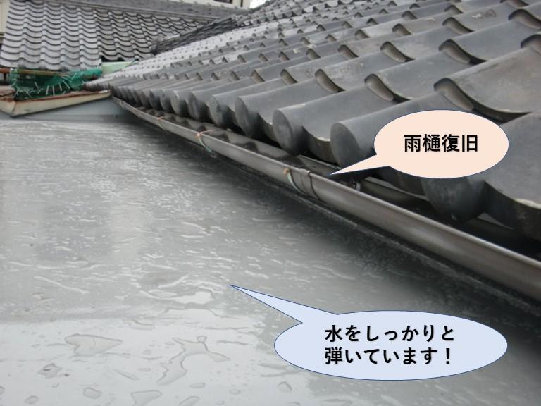 岸和田市の陸屋根/水をしっかりと弾いています!