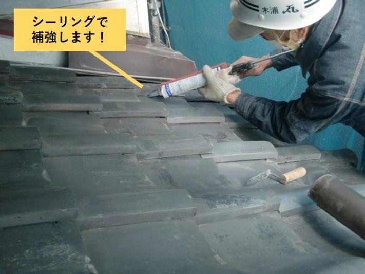 和泉市の瓦をシーリングで補強
