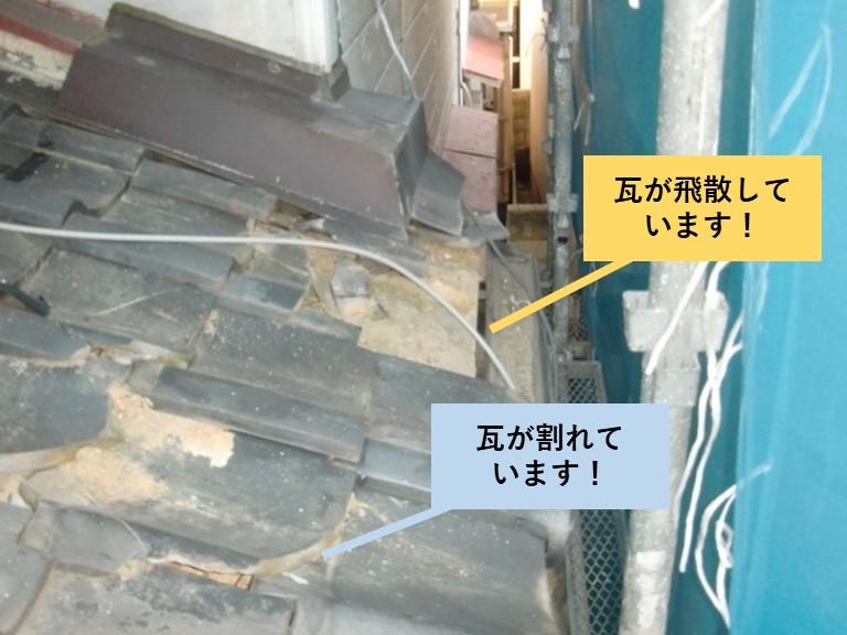 和泉市の下屋の瓦の被害