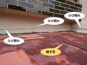 泉大津市の玄関庇から雨水が入る可能性