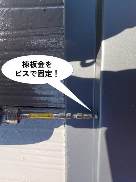 岸和田市の棟板金をビスで固定