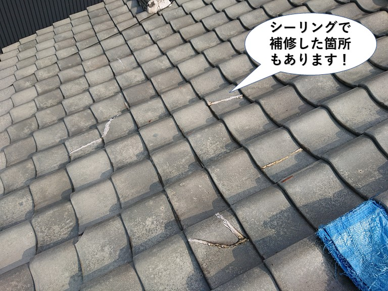 泉佐野市の屋根にシーリングで補修した箇所もあります