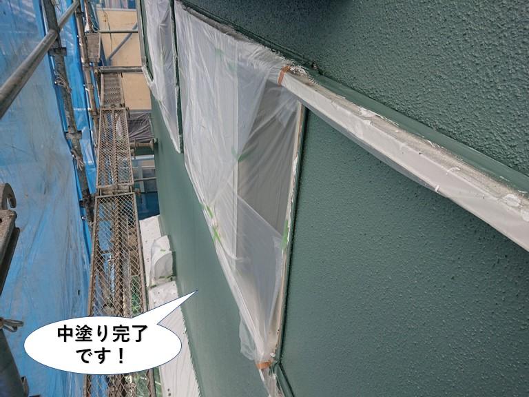 泉南市の外壁の中塗り完了です