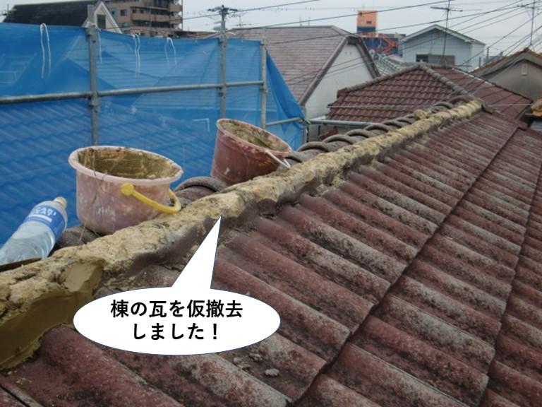 忠岡町で棟の瓦を仮撤去しました