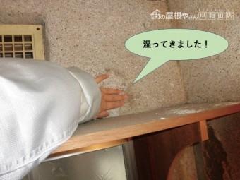 岸和田市のトイレの壁が湿ってきました