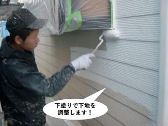 貝塚市の外壁を下塗りで下地を調整