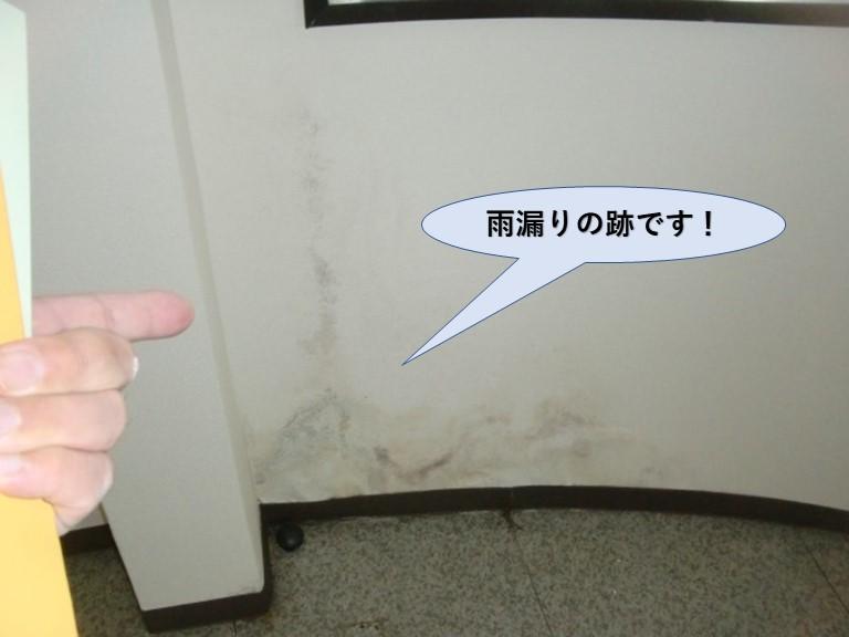 貝塚市の雨漏りの跡です!