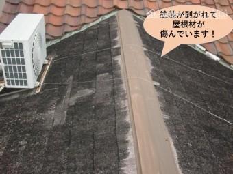 岸和田市の増築部の屋根が塗装が剥がれて屋根材が傷んでいます
