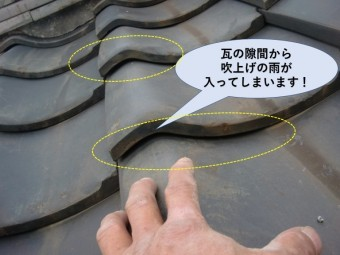 岸和田市の瓦に隙間が開いています!