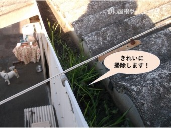 岸和田市の雨樋を掃除します!