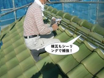 泉大津市の棟瓦をシーリングで補強