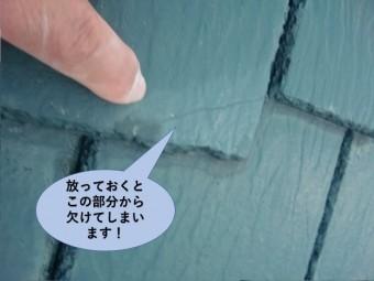 阪南市の瓦の劣化