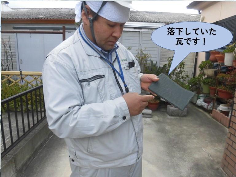 阪南市の落下していた瓦です