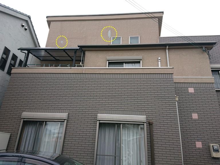 泉大津市の外壁の塗膜の剥がれ