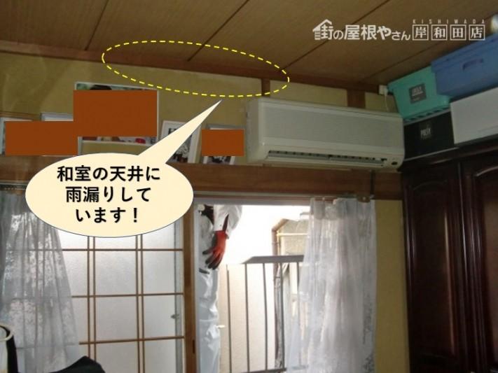 泉大津市の和室の天井に雨漏りしています