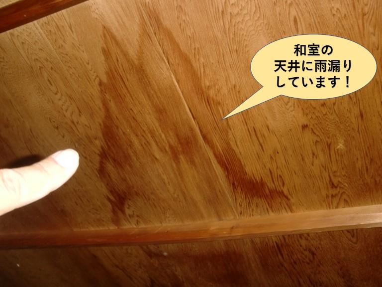 貝塚市の和室の天井に雨漏りしています