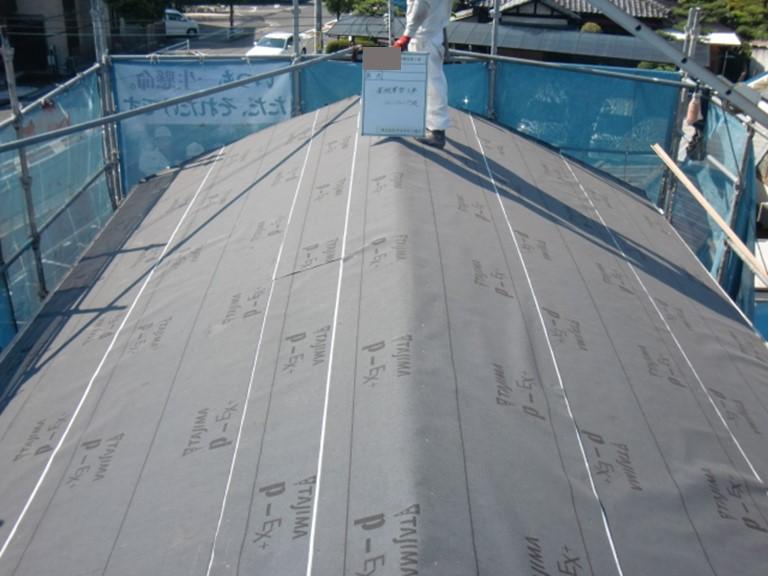 忠岡町の屋根のルーフィング敷