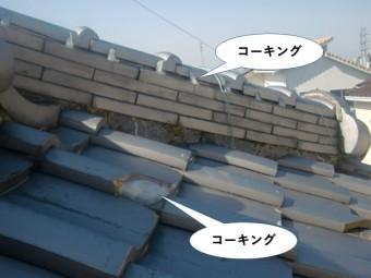 岸和田市の屋根のコーキングでの処置