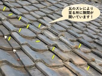 岸和田市の瓦がズレて隙間が開いています