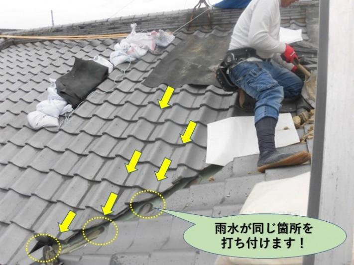 岸和田市の屋根で雨水が同じ箇所を打ち付けます