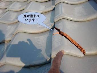 岸和田市の屋根の地瓦が割れています!