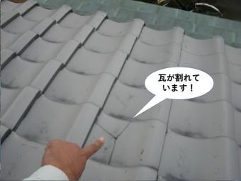 岸和田市の瓦が割れています!