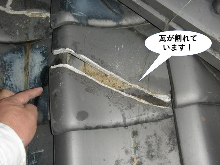 熊取町の下屋の瓦が割れています!