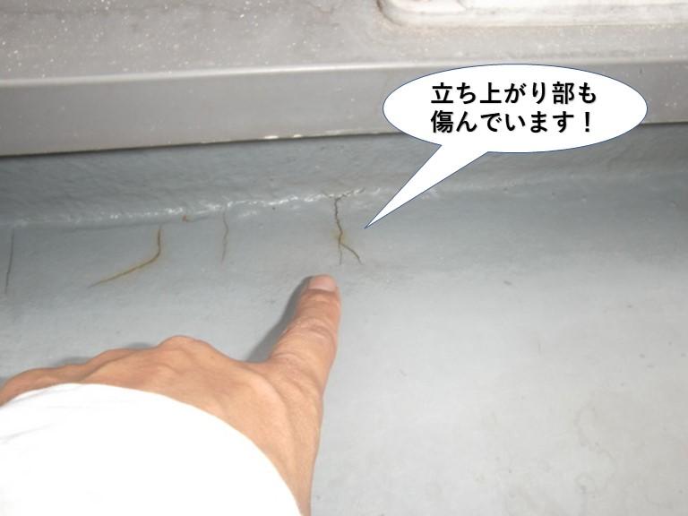 岸和田市のベランダの立ち上がり部も割れています