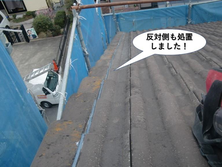 岸和田市の屋根の反対側も処置しました