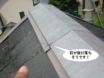忠岡町の屋根の板金の釘が抜け落ちそうです