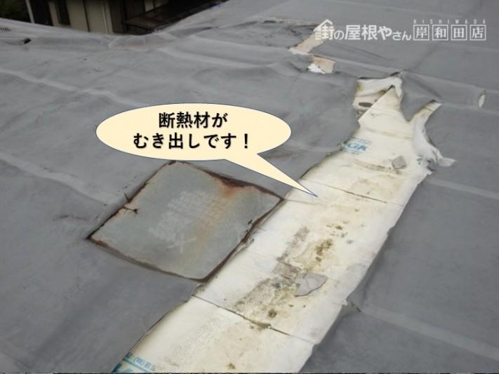 貝塚市の陸屋根の断熱材がむき出しです