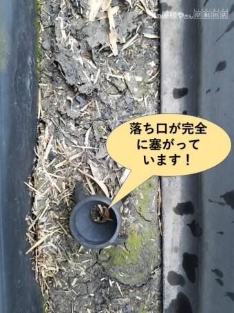 和泉市の樋の落ち口が完全に詰まっています
