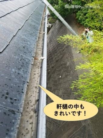 和泉市の軒樋の中もきれいです