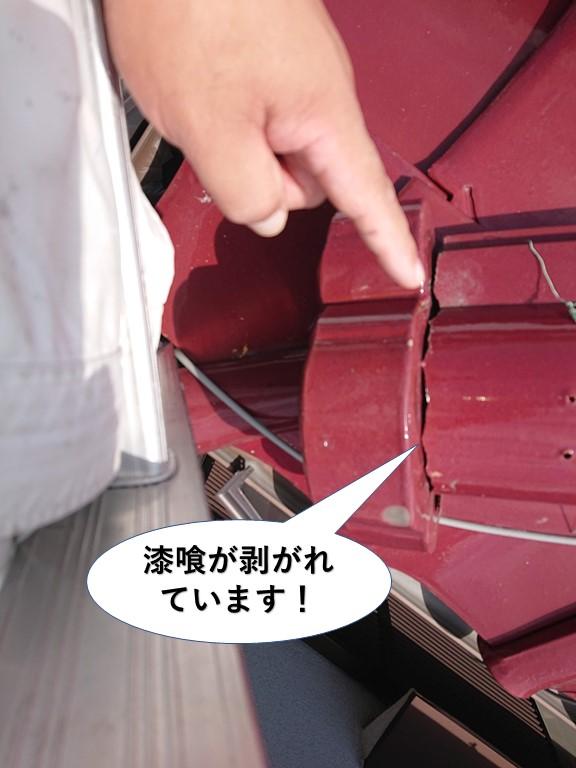 岸和田市の漆喰が剥がれています