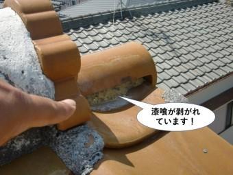 泉佐野市の漆喰が剥がれています