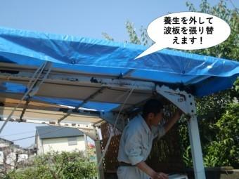 忠岡町のカーポートの養生を外して波板を張り替えます